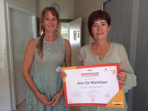 Ann De Martelaer stagecertificaat