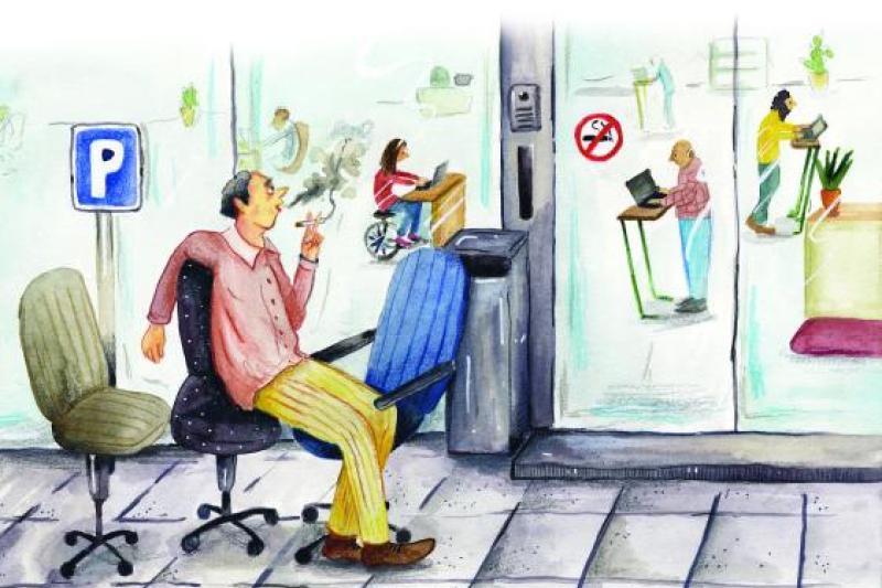Over kleine en grote zaken: Jos zit liever terwijl hij typt