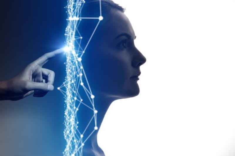 hoofd met artificiële intelligentie
