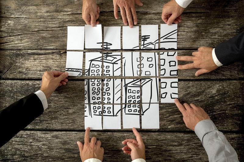 puzzel van gebouwen